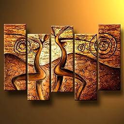 Santin Art-Gold Dance-Modern Canvas Art Wall Decor-Abstract Oil Painting Wall Art (10x28inchx5pcs)