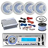 16-25' Bay Boat: Pyle Bluetooth Marine USB MP3 Stereo Receiver, 4 X Pyle 6.5'' Waterproof White Speakers w/ LED, Pyle 4 Channel Boat Amplifier, Amp Install Kit, 18 Gauge 50 FT Speaker Wire, Antenna