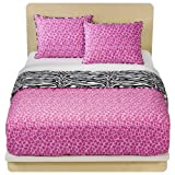 61WwqWVxxAL. SL160  Pink Cheetah Zebra Girls Twin Comforter Set