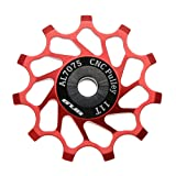 Vanpower Rear Derailleur,Ceramic Bearing Jockey Wheel Pulley Road Bike Rear Derailleur (Red, 11T)