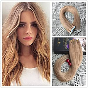 Moresoo 16 inch 100g/40pcs Seamless Skin Weft Tape In Hair Extensions Caramel Blonde Color #27 100% Straight Unprocessed Virgin Remy Human Hair