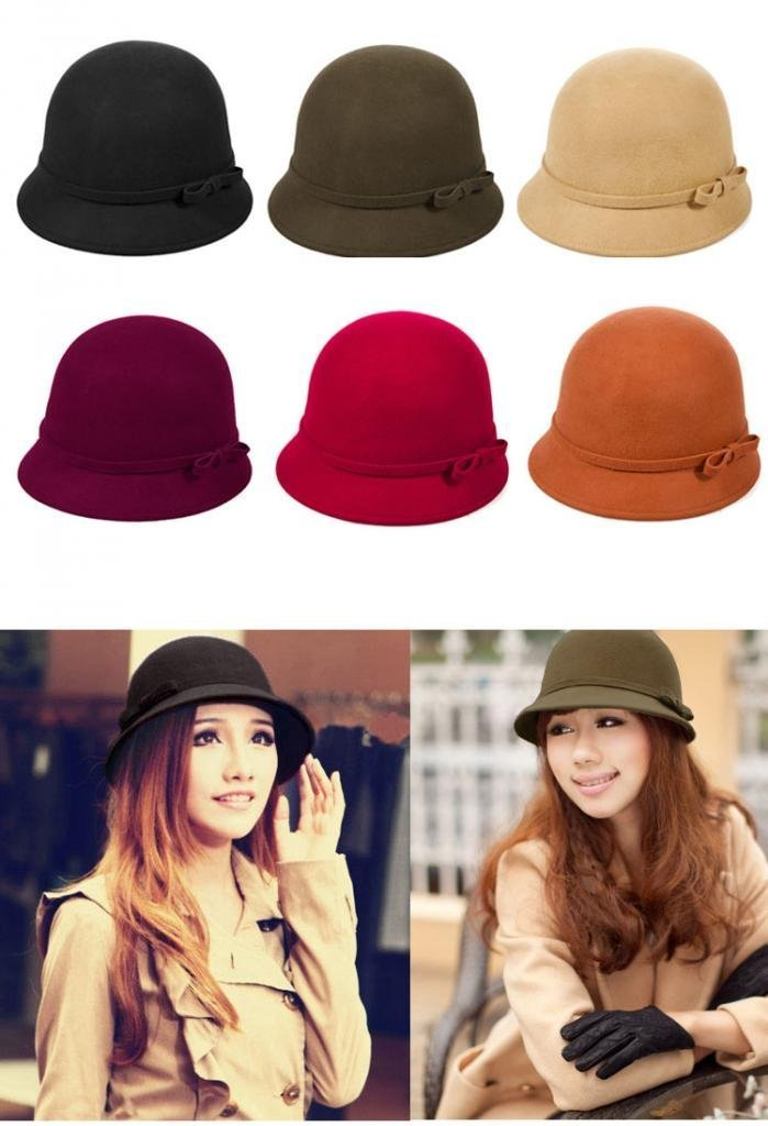 Vbiger Fashion New Women Vintage Wool Round Fedora Cloche Cap Wool Felt Bowler Hat 2