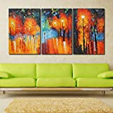 999Store Multiple Frames Modern Abstract Painting Street Light Wall Decor Landscape Paintings On Canvas Stretched