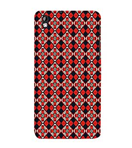 iFasho Animated Pattern small red rose flower with black and red rectangle Back Case Cover for HTC Desire 816