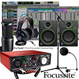 Focusrite Scarlett Solo 2nd Home Recording Studio Bundle w/ Mackie CR4 AT-2020 Mic