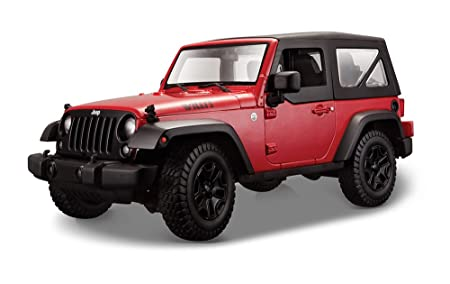 Maisto - 2043021 - Maquette De Voiture - Jeep Wrangler '14 - Rouge - Echelle 1/18