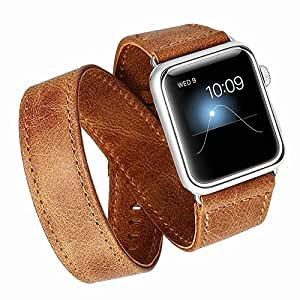 Double Tour Apple Watch Band, Jisoncase® Deluxe Top-grain Genuine Leather Replacement Watchband with Metal Clasp Adapter for iWatch Apple Watch & Sport & Edition Brown 38mm