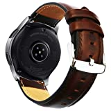 Ticwatch Pro & Galaxy Watch 46mm Band, 22mm Quick Release Genuine Leather Replacement Strap with Stainless Steel Buckle for Samsung Gear S3 Classic/Frontier, Ticwatch Pro Smart Watch by OTOPO - Brown (Color: Brown - Fit 5.9