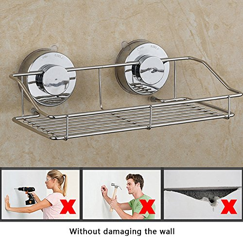 Shower Basket, Stainless Steel Suction Cup Shower Caddy Shampoo & Shower Gel Holder with Rotate and Lock Suction Cup for Bathroom or Kitchen Requisites
