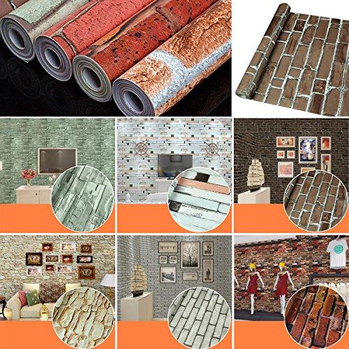 uq papier peint trompe l oeil 45cmx10m brique pierre 3d sticker mural autocollant amovible. Black Bedroom Furniture Sets. Home Design Ideas