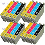 16x Compatible Ink Cartridge Replacements for Epson T0715 For use with Epson Stylus B40W BX300F BX310FN BX600FW BX610FW D120 D120 WiFi D78 D92 DX4000 DX4050 DX4400 DX4450 DX5000 DX5050 DX6000 DX6050 DX7000F DX7400 DX7450 DX8400 DX8450 DX9400 WiFi DX9400F