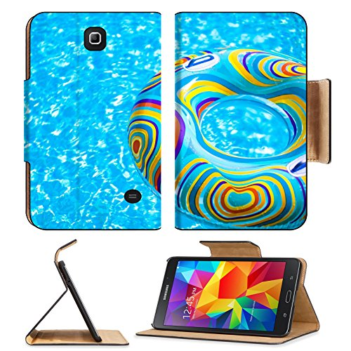 MSD Premium Samsung Galaxy Tab 4 7.0 Inch Flip Pu Leather Wallet Case Inflatable colorful Rubber Ring floating in blue swimming pool Image ID 23577453