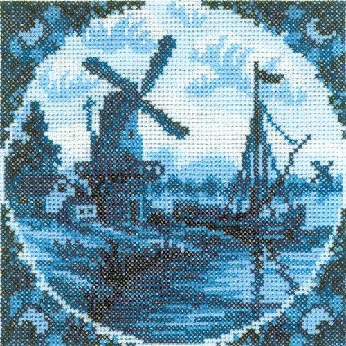 Néerlandais antique moulin à vent II compté point de croix Kit-4-1/4