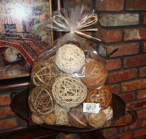 Bag of natural fiber decorative balls spheres orbs home
