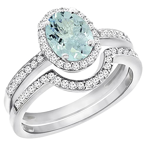 Revoni 14ct White Gold Natural Aquamarine 2-Piece Ring Set Oval 8x6 mm Diamond Accents