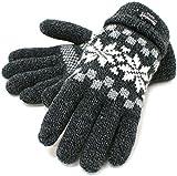 (シンサレート) Thinsulate 手袋 メンズ グローブ ニット 雪柄 ノルディック 高機能中綿素材 4color (Free, ブラック)