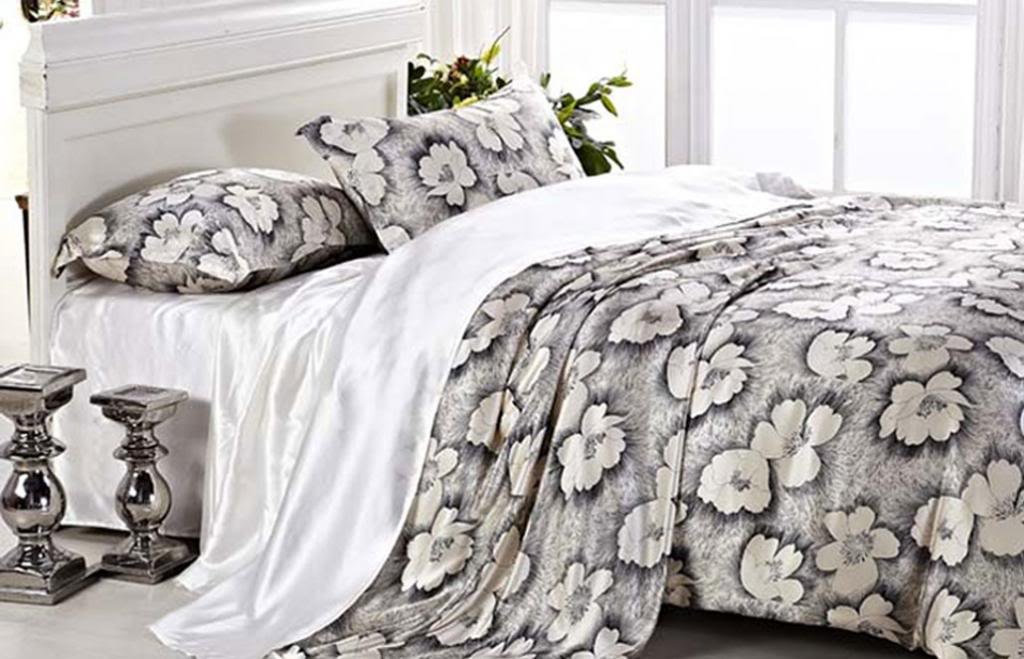 Orifashion Luxury 5 Pieces 100% Silk Charmeuse Bedding Set, Charcoal Drawing Style Flowers Printing (Model BSSJSL007), California King Size