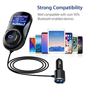 Bluetooth FM Transmitter, TecTri in-Car Radio Adapter Car Kits Universal Car Charger with Dual USB Charging Ports Hands-Free Calling Supporting TF Car