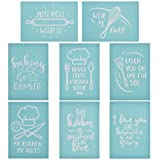 YeulionCraft Self-Adhesive Silk Screen Printing Stencil Kitchen Theme Mesh Transfers for DIY Pillow Fabric Painting Decoration Chalkboards Wood Ceramic, 8PCS (Color: 8pcs)