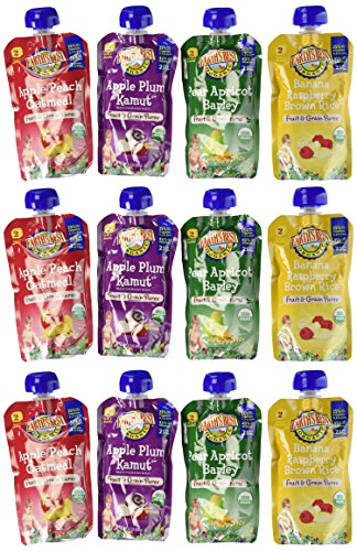 Earth's Best Organic Fruit and Grain Puree Pouches 4 Flavor Variety Pack (Pack of 12) (3rd Stage Baby Food compare prices)