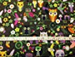 1 FAT QUARTER | KHAKI GREEN OWL PRINTED JAPANESE SUPERFINE 100% COTTON POPLIN **FREE UK POST** BLACK BACKGROUND LAWN MIROTO GREAT DESIGNS OWL PRINTS OWL DESIGNED COTTON MATERIAL KHAKHI FOREST GREEN YELLOW PURPLE GREEN BLUE LIME GREEN BLACK BROWN FLORAL MULTICOLOURED OWL FLOWER PRINTS SOLD BY 50cm x 60cm UNIT