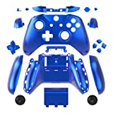 WPS Chrome Color Case Housing Full Shell Set Faceplates + ABXY Buttons + RB LB Bumpers + Right/Left Rails for Xbox One S Slim (3.5 mm Headphone Jack) Controllers (Chrome Blue) 1708 Version (Color: Chrome Blue)