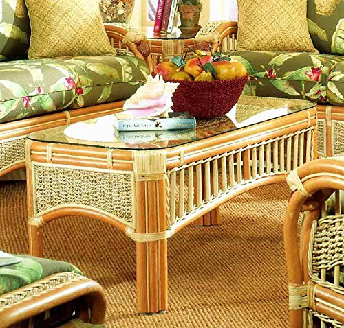 Wicker Frame Coffee Table with Glass Top