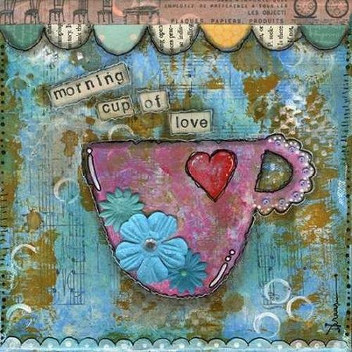 "Morning Cup of Love by Denise Braun - 30"" x 30"" Premium Canvas Print"