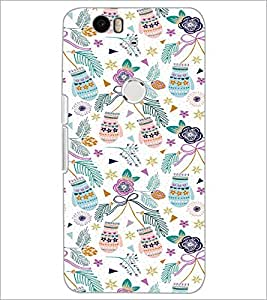 PrintDhaba Floral Design D-2057 Back Case Cover for HUAWEI NEXUS 6P (Multi-Coloured)