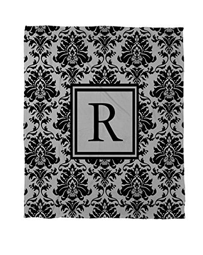 Thumbprintz Duvet Cover, Twin, Monogrammed Letter R, Black And Grey Damask front-443477