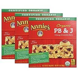 Annie\'s Homegrown Organic PB&J Chewy Granola Bars, 5.9 Oz (Pack of 3)
