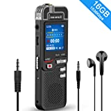 16GB Digital Voice Recorder, 1536kbps Voice Activated Recorder with Playback, Line in/External Microphone, Noise Reduction HD-Audio Recorder, Rechargeable Portable Voice Recorder for Lecture, Meeting (Color: Black, Tamaño: 16GB)