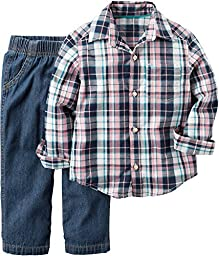 Carter\'s Boys Plaid Shirt with Denim Pants, 2 Piece Set