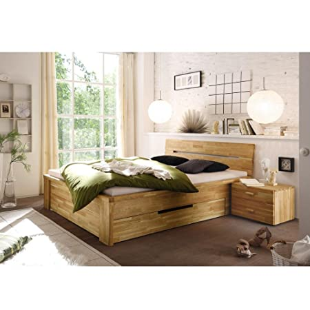 De madera maciza de cama de madera de 180 x 200 cm Cassetta de madera de roble maciza de madera maciza de roble de 180 x 200
