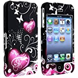 eForCity Heart with Butterfly Snap-On Case for Apple iPhone 4/4S - Retail Packaging - Multi
