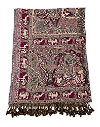 Fashionable Viscose Stole Purple 80x40 Elephant Self Weaved shawl By Rajrang