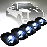 PROAUTO 5 Piece White Running Clearance Lights LED with 9PCS LED For Truck SUV Smoked Lens For FordPickup 4x4 (Color: White Cab Clearance Lights)
