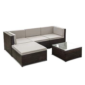 Ecksofa Couch Terrasse Garten-Möbel Sofa-Set W/Kissen im Tisch Set