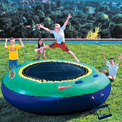 Banzai bounce inflatable water or land trampoline swimming for Garden inflatable swimming pool