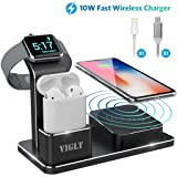 Apple Watch Stand 10W Wireless Charger iPhone X VIGLT Aluminum 3 in 1 Apple Watch Charging Stand AirPods Wireless iPhone Charging Docking Station for Apple Watch Series 3/2/1 AirPods iPhone X 8 8 Plus
