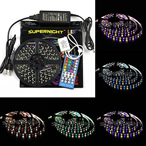 Binzet Black Pcb Rgbw Led Strip Light 5M 5050 Rgb + Pure White Multi-Color Flexible Led Strip Light Full Kit(Rgbw Led Strip + 40Key Rgbw Remote Controller + 12V 5A Power Supply) Waterproof Led Strip For Indoor Outdoor House Garden Led Decoration