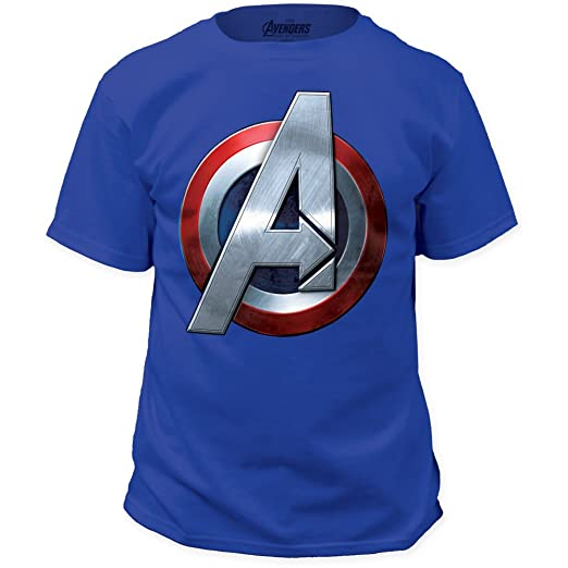 Avengers: Age of Ultron Captain America Symbol T-shirt (Large, Black)