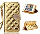 4s Case, iphone 4s Case, ARTMINE Luxry Bling Crystal Buckle Shiny Durable PU Leather Flip Folio Book Style Wristlet Wallet Protective Skin Pouch Phone Case & Magnetic Closure with Credit/ID Card Slot [Kickstand Feature] for Apple iphone 4s Verizon, AT&T, Sprint, T-Mobile