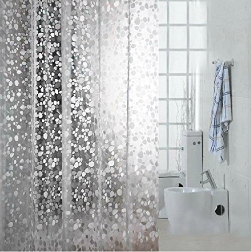 Eforcurtain Extra Long 72 By 78-inch 12 Gauge Shower Curtain Liner Cobblestone Eco-friendly PVC Semi-transparent Bath Curtain Waterproof Shower Curtain Anti-bacterial, Use as Stand Alone or Liner (Long Shower Curtain compare prices)