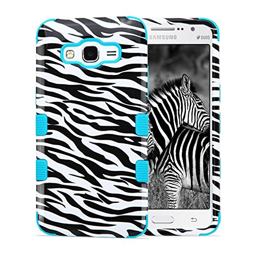 Samsung Galaxy Grand Prime Case, Dual Layer Hybrid, JoJoGoldStar Slim Fit Heavy Duty Polycarbonate and Silicone TPU Cover with Screen Protector and Stylus - Zebra Stipes (Cute Animal Pics compare prices)