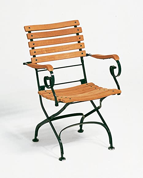 weishaeupl Classic Sillón Curved-Color Verde Oscuro weishaeupl, teca maciza, acero, diseño-Silla de jardín-Sol silla-Terraza silla