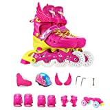 Inline Skates Double Row Skates Children Full Set Boys And Girls Roller Skates Beginners Adjustable Rollerblades 3-12 Years Old Ice Skate,Pink-M (Color: Pink, Tamaño: Medium)