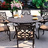 Simple Darlee Santa Monica Cast Aluminum Outdoor Patio Dining Set With Cushions Inch Round Antique Bronze