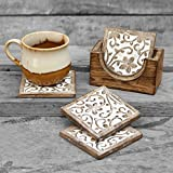 Mothers Day Gifts Set of 4 Wooden Square Coasters for Tea Coffee Beer Wine Glass Drinks with Coaster Holder Hand carved Floral Motif, Barware and Dinning accessory
