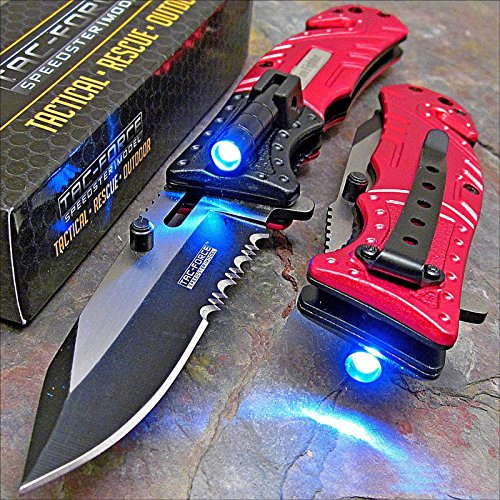 TAC-FORCE Red FIRE FIGHTER Spring Assisted Open LED Tactical Rescue Pocket Knife